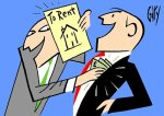 Courtesy Gary Smith cartoon for Daily Mail property. Property sharp estate agent.